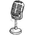 scribble series - vintage microphone vector image vector image