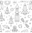 seamless pattern with space objects ufo rockets vector image vector image