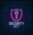 security key glowing neon sign on dark brick wall vector image