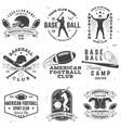 set american football and baseball club badge vector image vector image