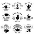 set of tea house labels design element for logo vector image vector image