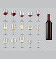 types wine glasses isolated 3d icons set vector image vector image
