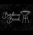 typographical barbecue break inscription template vector image vector image