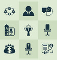 work icons set with office chair problem solving vector image