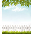 Nature background with green leaves and white vector image