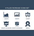 6 increase icons vector image vector image