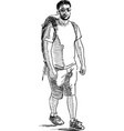 a tourist with a backpack is on a hike vector image vector image