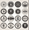 anniversary retro labels collection 90 years vector image vector image
