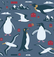 antarctica seamless pattern with penguin vector image vector image