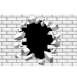 Brick wall break background Destroyed vector image vector image