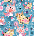 Bright pattern of the cats vector image vector image