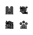 business property black glyph icons set on white vector image