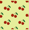 Cartoon fresh cherry fruits in flat style seamless