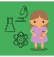cartoon girl pencil chemistry icons green vector image vector image