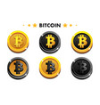 cartoon gold and black bitcoin icon digital or vector image vector image