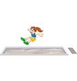 cartoon woman athlete doing long jump in the compe vector image