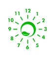 Clock made of green leaf icon simple style vector image vector image