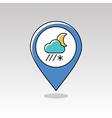 Cloud Snow Rain Moon pin map icon Weather vector image vector image