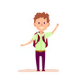curly cheerful boy with brief-bag waving by hand vector image