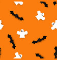 cute bats and ghosts seamless pattern halloween vector image