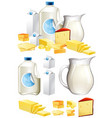 different dairy products with milk and cheese vector image vector image