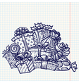 doodle christmas gifts vector image vector image