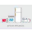 Flat modern kitchen appliances background concept vector image vector image