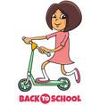 girl on schooter back to school cartoon vector image vector image