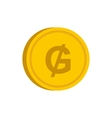 Gold coin with guarani sign icon flat style vector image vector image