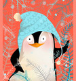 greeting penguin celebrating christmas or new year vector image