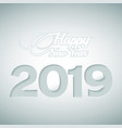 happy new year and numbers 2019 cut out paper vector image vector image