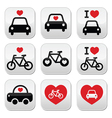 I love cars and bikes buttons set vector image