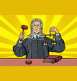 judge with a hammer scales of justice vector image