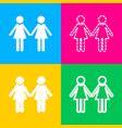 lesbian family sign four styles of icon on four vector image vector image
