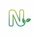letter n leaf growing buds shoots logo icon vector image
