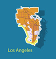 los angeles map flat style design - sticker vector image vector image