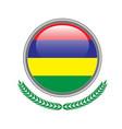 mauritius flag button mauritius flag icon of vector image