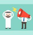 megaphone head and annoying arab businessman vector image vector image