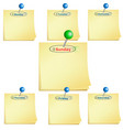 note-paper working week with pin vector image vector image