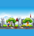 people and dog urban scene vector image vector image