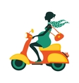 Pregnant woman driving scooter vector image vector image
