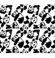 seamless pattern with cartoon pandas vector image