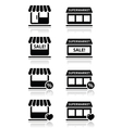 Single shop store supermarket icons set vector image vector image