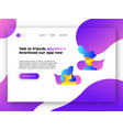 social network app landing page for internet site vector image vector image