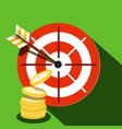 target icon with dollar coins vector image vector image