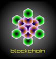 three dimensional emblem blockchain vector image vector image