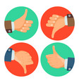thumbs up down icons business hands vector image vector image