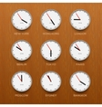 Timezone clocks showing different time wooden vector image vector image