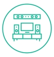 TV flat screen and home theater line icon vector image