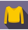 Yellow pullover icon flat style vector image